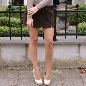 Zara Brown Suede Mini Skirt Sz Sm